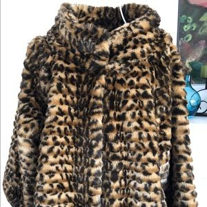 7 for all Mankind Leopard Cropped Faux Fur Coat S
